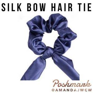 Silk Bow Hair Tie Scrunchie - Blue Purple